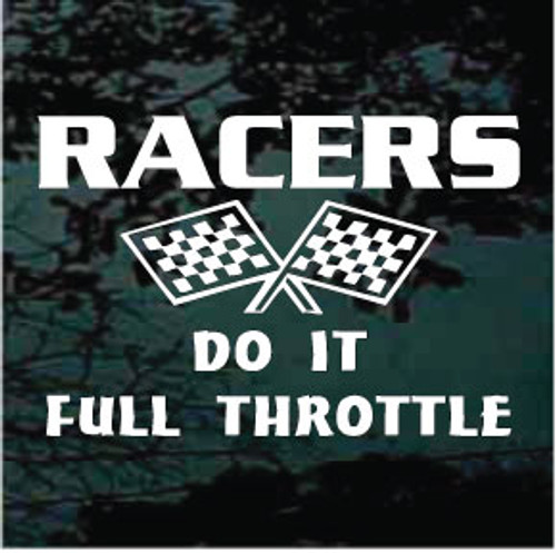 Racer's Do It Full Throttle Race Flags Decals