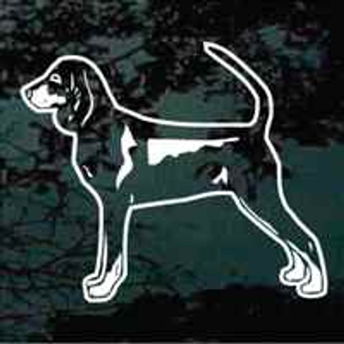 Black & Tan Coonhound Stance Window Decal