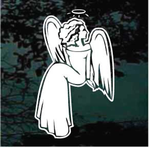 Angel With Halo Sitting Window Decals