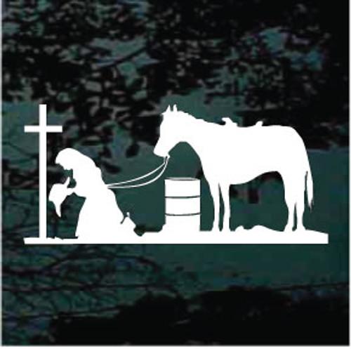 Barrel Racer Kneeling At The Cross