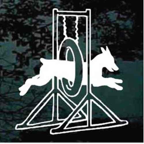 Doberman Agility Tire Jump Window Decal