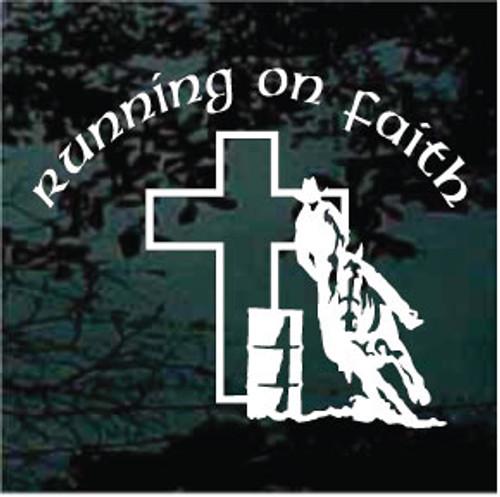 Running On Faith Barrel Racer Window Decals