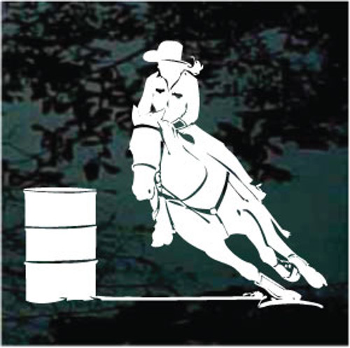 Detailed Girl Barrel Racer Window Decals