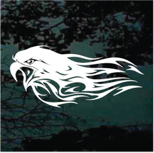 Eagle Head With Flames Window Decals