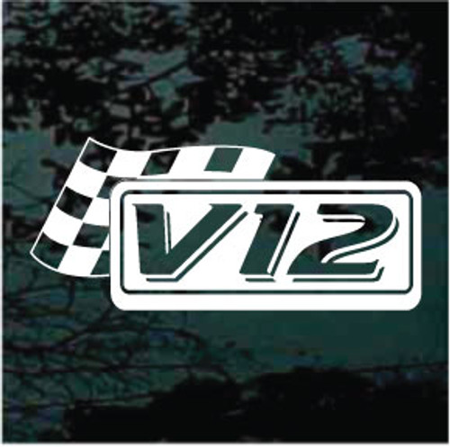 V12 Checkered Racing Flag Decals