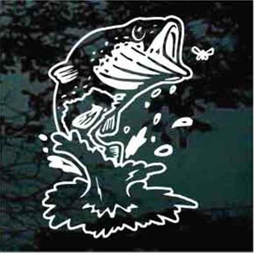 Bass Fish Feeding Window Decal