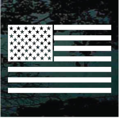 American Flag Single Color Window Decal
