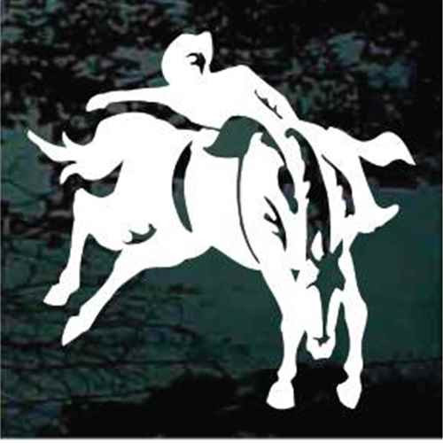 Cowboy Riding Bucking Bronco Window Decals