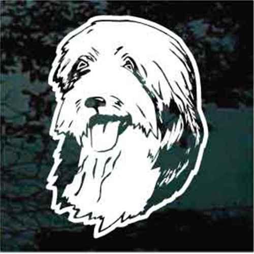 Bearded Collie Head Window Decal