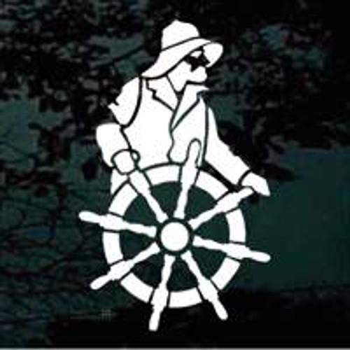 Boat Captain At The Wheel
