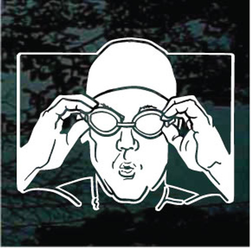 Swimmer Wearing Goggles Decals