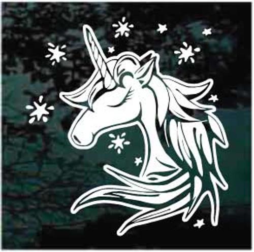 Sweet Unicorn Head With Stars Decal