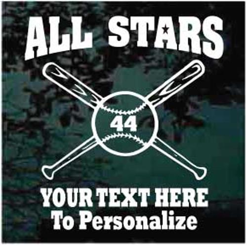 All Stars Baseball Team Window Decals