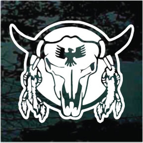 Bull Skull With Feathers Window Decals