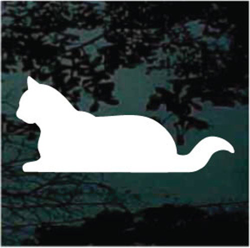 Cat Down Silhouette Window Decal