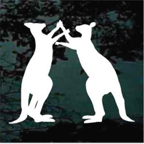 Kangaroos Fighting Window Decals