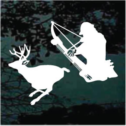 Bow Hunter Shooting Deer Silhouette