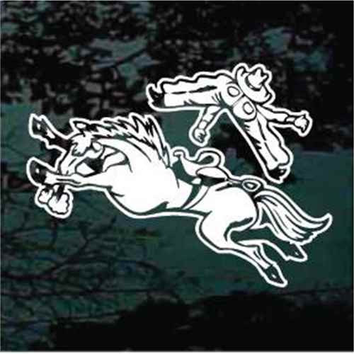 Bucked Off Bronco Rider Window Decals