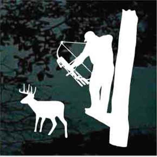 Bow Hunter Shooting Deer From Tree Stand