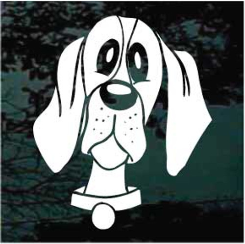 Funny Hound Dog Face Window Decal