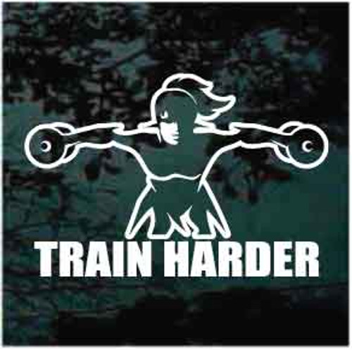 Train Harder Girl With Weights Decals