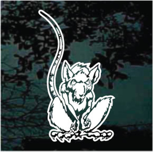 Mean Rat With Long Tail Window Decals