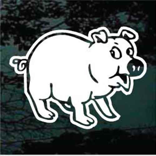 Funny Pig Cartoon Window Decals