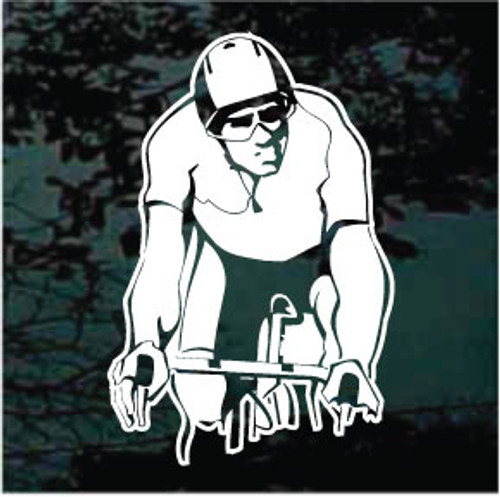 Man Cycler Riding Bicycle Decals