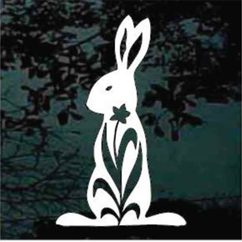 Vintage Flower Rabbit Window Decals