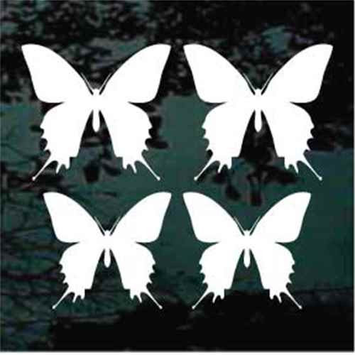 Butterfly Silhouette 04 Two 3'' + Two 3 1/2'' Window Decal