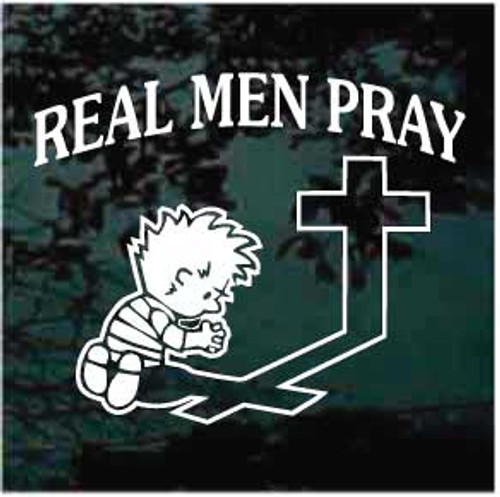 Boy Praying At The Cross Real Men Pray Window Decal