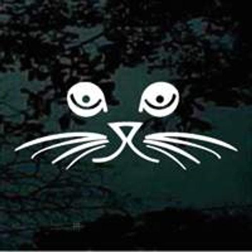 Cat Face With Whiskers Window Decal