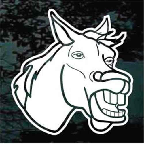 Braying Donkey Head Window Decal