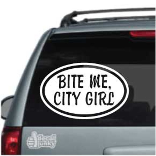 Bite Me City Girl Oval Car Decal