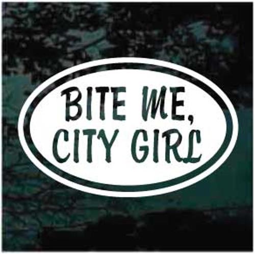 Bite Me City Girl Oval Window Decal