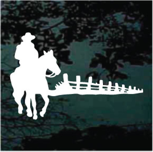 Cowboy On Horse Silhouette Window Decals