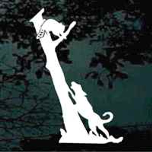 Coonhound Treeing Coon Window Decal