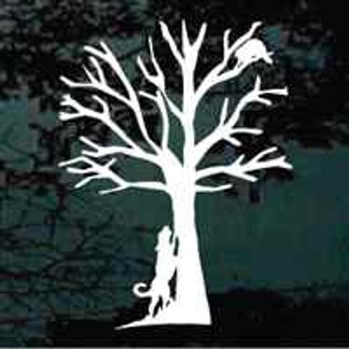 Coonhound Treeing Raccoon Window Decal