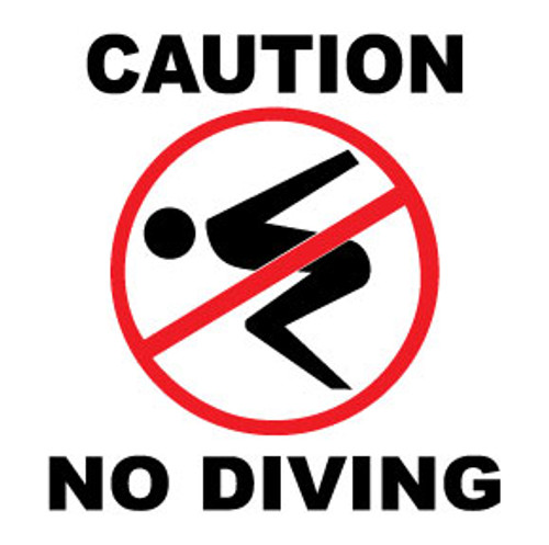 No Diving Caution Sign Decals