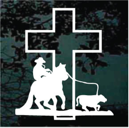 Calf Roping At The Cross Window Decal