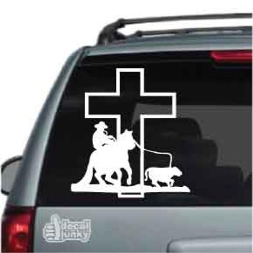 Calf Roping At The Cross Car Decal