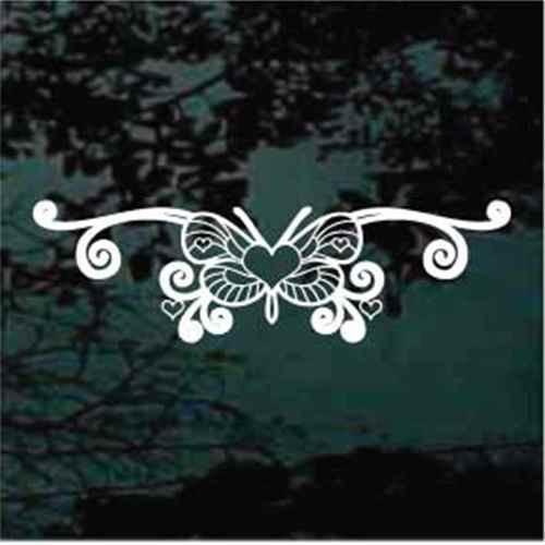 Heart Butterfly Design Window Decals