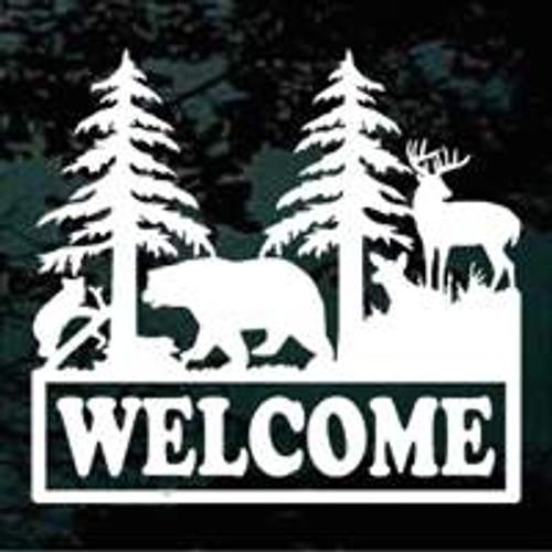 Deer Bear Scene Welcome Sign