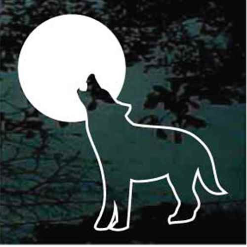 Coyote Howling At The Moon Window Decals