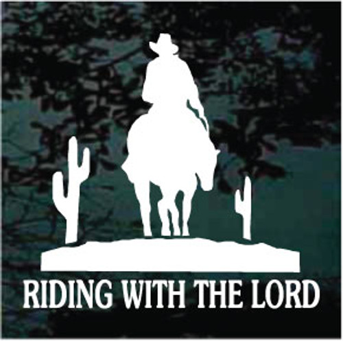 Riding With The Lord Cowboy Window Decals