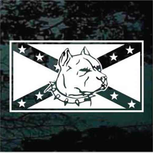 Confederate Flag Pitbull Window Decals