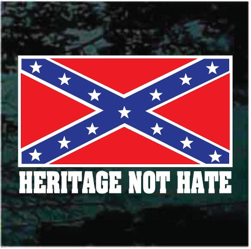 Confederate Flag Heritage Not Hate Window Decals