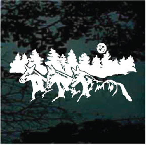 Mule Trio With Trees Window Decals