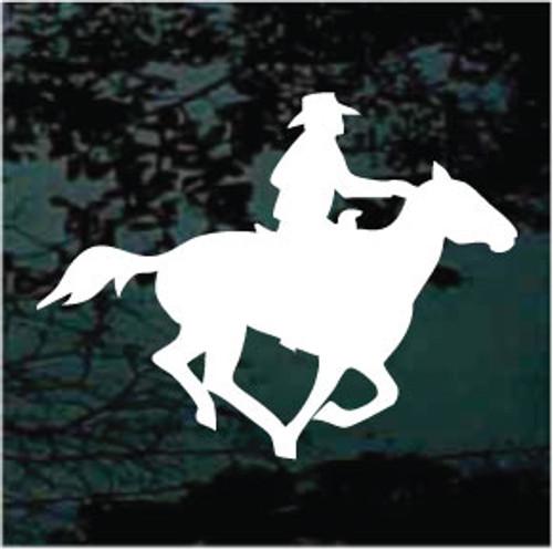 Cowboy On Running Horse Window Decals