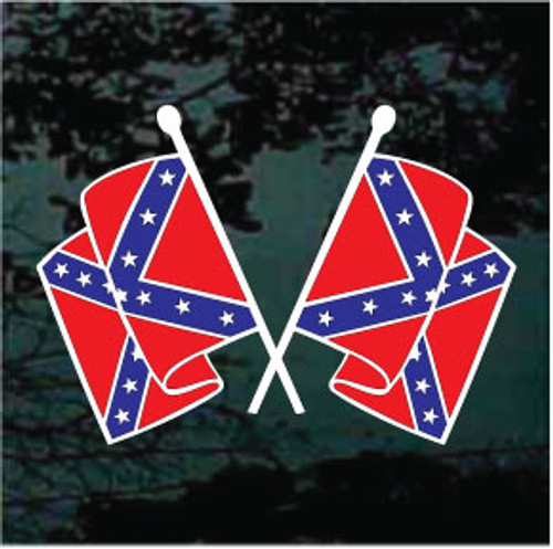 Confederate Flags Waving Window Decals
